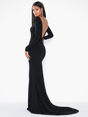 Missguided Long Sleeve Open Back Fishtail Maxi