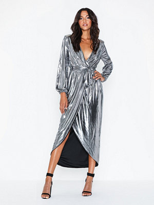 NLY Eve Metallic Wrap Gown