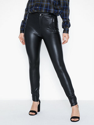 Only svarta byxor Onlolive Faux Leather Crop Pant Reg