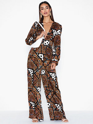 Jumpsuits & playsuits - Glamorous Scarf Print Long Sleeve Jumpsuit