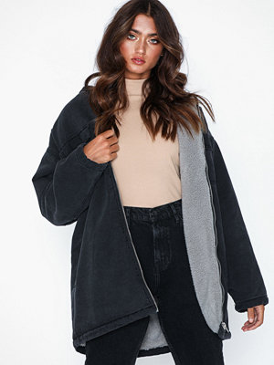 Missguided Borg Lined Hooded Denim Parker
