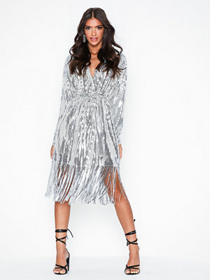 NLY Trend Wrap Fringe Sequin Dress