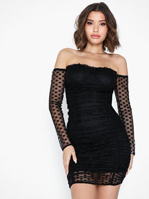 Missguided Dobby Mesh Bardot Long Sleeve Bodycon