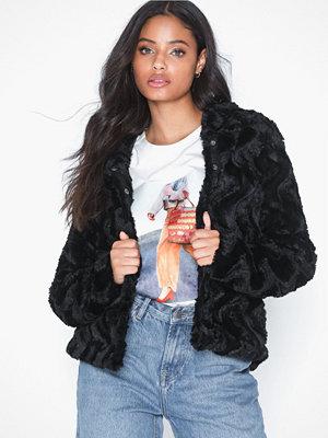 Fuskpälsjackor - Vero Moda Vmcurl Hoody Faux Fur Short Jacket Svart