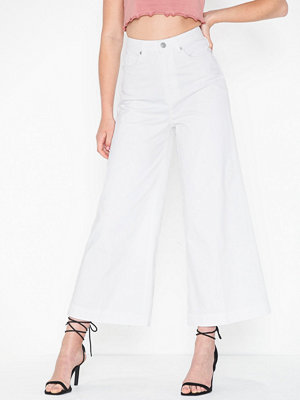 Selected Femme Slfcarry Hw Cropped Wide White Jean
