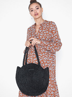 Day Et svart axelväska Day Straw Round Bag