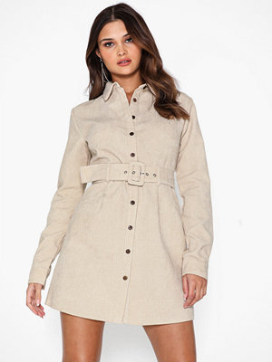Missguided Belted Cord Skater Shirt Dress