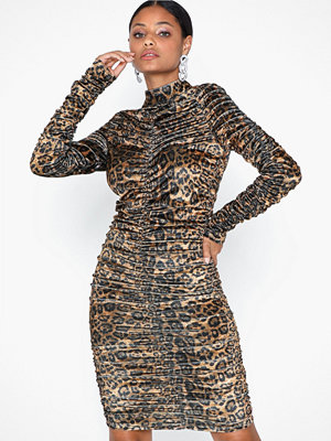 Parisian Leopard High Neck Rouched Dress