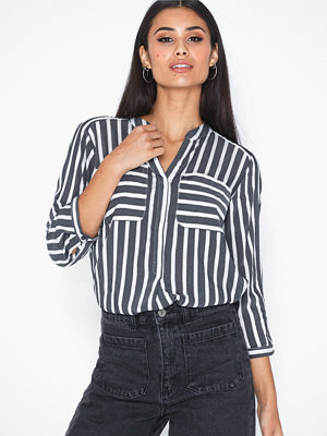 Vero Moda Vmerika Stripe 3/4 Shirt Top E10 No Black