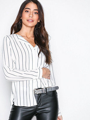 Selected Femme Slfdynella Stripe Ls Shirt Noos Offwhite