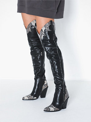 Missguided Thigh High Snake Detail Boot