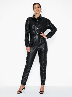Jumpsuits & playsuits - Missguided Faux Leather Button Down Jumpsuit