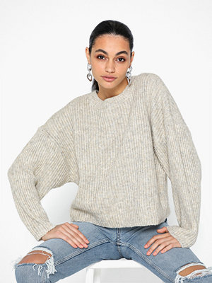 Topshop Oatmeal Knitted Crew Neck Jumper