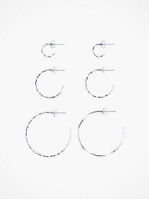 Pieces örhängen Pcindira 3-Pack Hoop Earrings