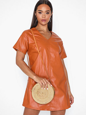 Farrow gul axelväska Jane Bamboo Leather Strap Bag