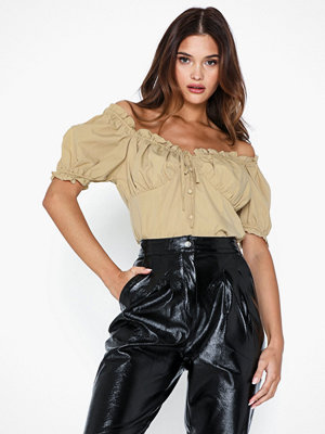 Missguided Poplin Button Front Ruched Crop Top