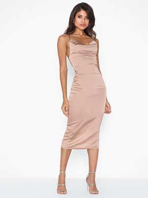 Parisian Satin Cowl Neck Tie Back Midi Dress