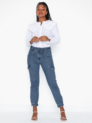 Only byxor Onlpatricia Cargo Md Blu Dnm Jeans