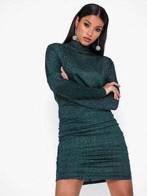 Ax Paris Puffy Sleeve High Neck Glitter Dress