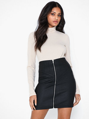 Missguided Corset Detail Coated Denim Skirt