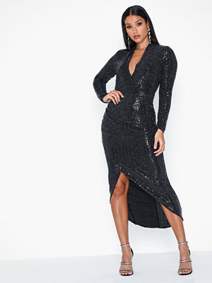Ax Paris V Neck Glitter Midi Dress