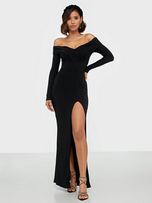 Missguided Slinky Long Sleeve Bardot Maxi Dress