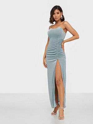 Rare London Metallic Side Split Maxi Dress