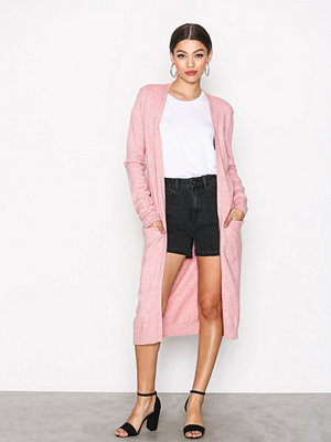 Vila Viril L/S Long Knit Cardigan-Noos Ljus Rosa