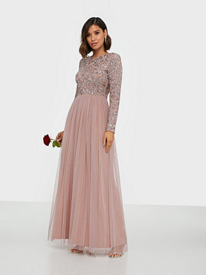 Maya Embellished Bodice Long Sleeve Maxi Dress
