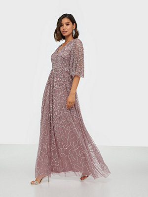 Maya Embellished V Neck Cape Sleeve Maxi Dress