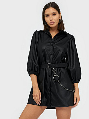 Parisian PU Button Front A Line Mini Dress