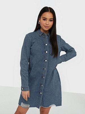 Jacqueline de Yong Jdysansa Dress Raw Hem Med Blue Dnm