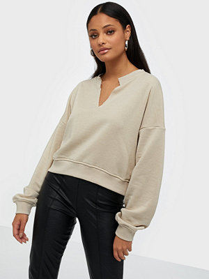 Missguided Raw Edge Notched Neck Sweat