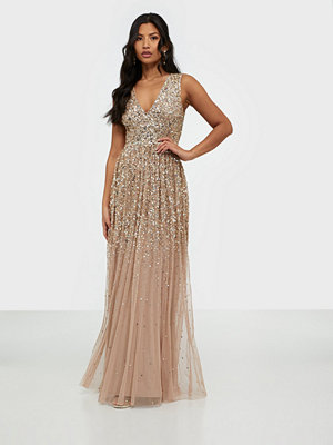 Maya All Over Delicate Sequin Plunge Sleeveless Dress