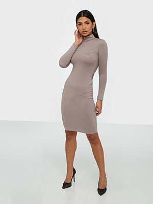 Parisian Rib Knit Turtle Neck Midi Dress