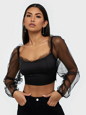 Parisian Sheer Puff Sleeve Crop Top