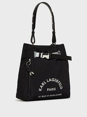 Karl Lagerfeld svart axelväska med tryck Rue St Guillaume Medium Hobo