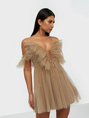 Parisian Sheer Mesh Cold Shoulder Ruffle Dress