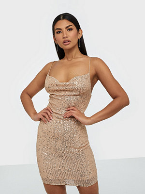 Parisian Sequin Cowl Neck Mini Dress