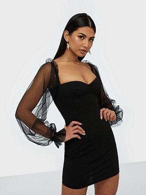Parisian Sheer Sleeve Bodycon Mini Dress