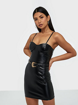 Parisian PU Buckle Detail Body Mini Dress