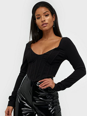 Missguided High Bust Long Sleeve Cropped Top