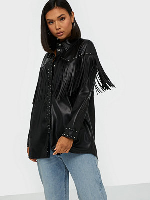 River Island Studded Fringed PU Overshirt