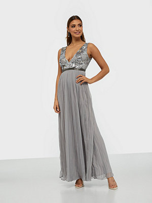 Rare London Sequin Plunge Pleated Maxi Dress