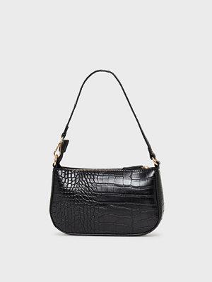 Missguided svart mönstrad väska Croc Shoulder Bag