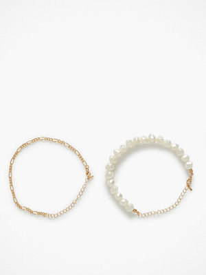 NLY Accessories smycke 2 pack Pearl Ankle Chains