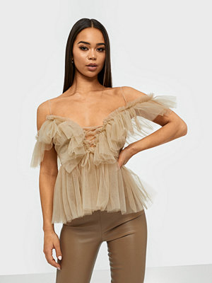 Toppar - Parisian Sheer Mesh Cold Shoulder Ruffle Top