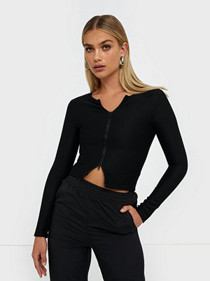 Missguided Ribbed Zip Through Top