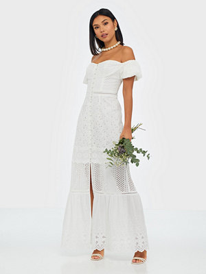 True Decadence Off Shoulder Embroidered Maxi Dress