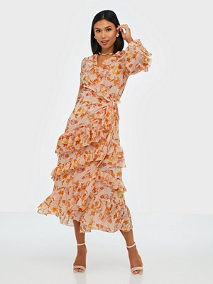 True Decadence Wrapped Midi Flower Dress